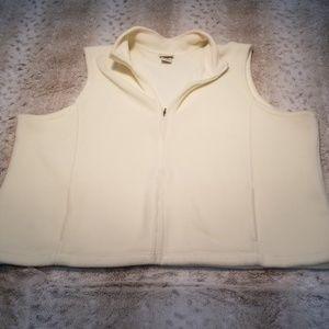 L.L. Bean Very Soft Zipup Fleece Cream Vest 2x